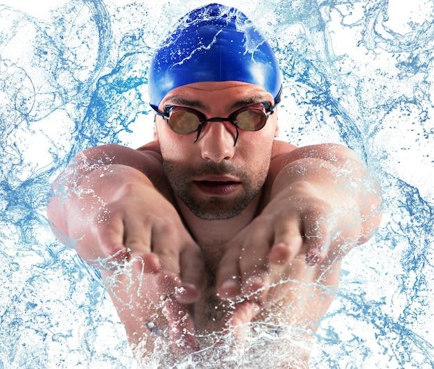 Profesjonalny pływak splash