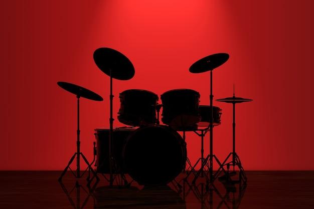 Profesjonalny zestaw perkusyjny rock z czerwonym podświetleniem przed ścianą w ciemnym pokoju. renderowanie 3d