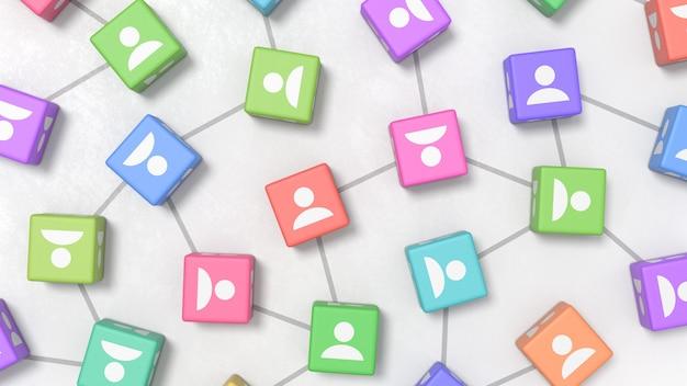 Profil osób na kolorowe kostki, koncepcje sieci społecznościowych