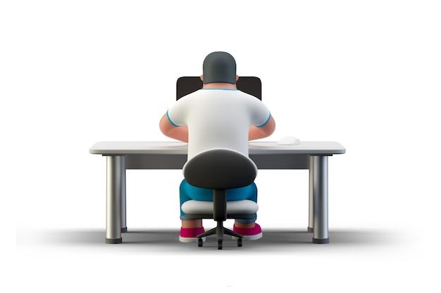 Programista kodera siedzący przy stole z monitorem komputera stacjonarnego, piszący kodowanie renderowania 3d