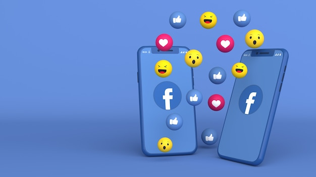 Projekt 3d dwóch telefonów z wyskakującymi ikonami facebooka