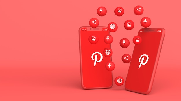 Projekt 3d dwóch telefonów z wyskakującymi ikonami pinterest