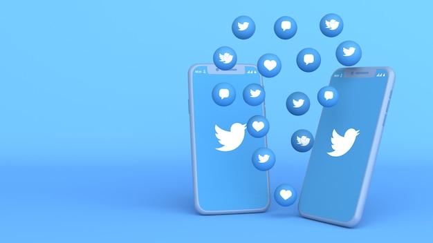 Projekt 3d dwóch telefonów z wyskakującymi ikonami twittera