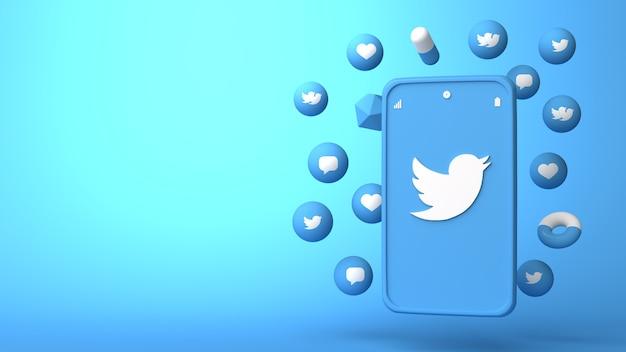 Projekt 3d ilustracja telefonu twitter i pojawiające się ikony
