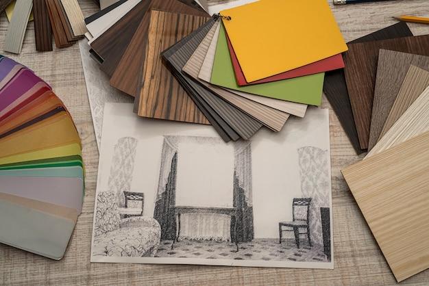 Projekt architekta wnętrz z paletą kolorów ołówka. koncepcja renowacji