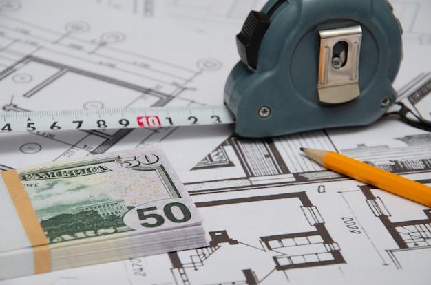 Projekt architektoniczny, linijka i ołówek. tło budowlane.