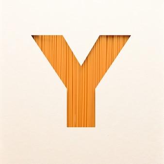 Projekt czcionki, abstrakcyjna czcionka alfabetu z fakturą drewna, realistyczna typografia drewna - y