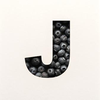 Projekt czcionki, abstrakcyjna czcionka alfabetu z jagodami, realistyczna typografia owoców - j.