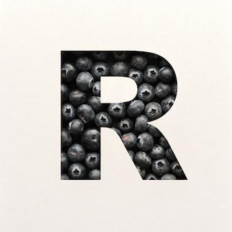 Projekt czcionki, abstrakcyjna czcionka alfabetu z jagodami, realistyczna typografia owoców - r.
