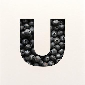 Projekt czcionki, abstrakcyjna czcionka alfabetu z jagodami, realistyczna typografia owoców - u