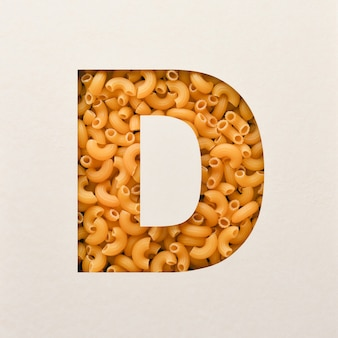 Projekt czcionki, abstrakcyjna czcionka alfabetu z łokciem makaronu, realistyczna typografia żywności - d
