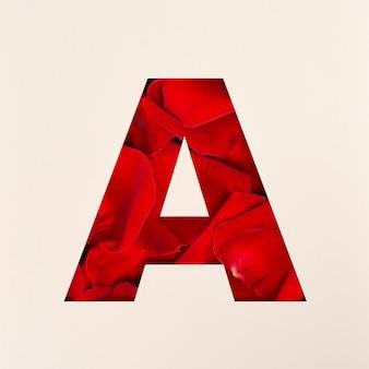 Projekt czcionki, abstrakcyjna czcionka alfabetu z płatkami róż, realistyczna typografia kwiatów - a