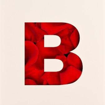 Projekt czcionki, abstrakcyjna czcionka alfabetu z płatkami róż, realistyczna typografia kwiatów - b.