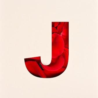 Projekt czcionki, abstrakcyjna czcionka alfabetu z płatkami róż, realistyczna typografia kwiatów - j.