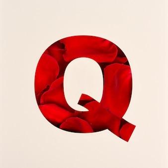 Projekt czcionki, abstrakcyjna czcionka alfabetu z płatkami róż, realistyczna typografia kwiatów - q
