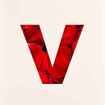 Projekt czcionki, abstrakcyjna czcionka alfabetu z płatkami róż, realistyczna typografia kwiatów - v