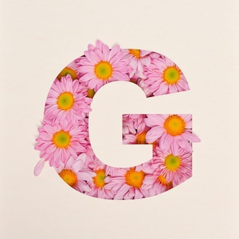 Projekt czcionki, abstrakcyjna czcionka alfabetu z różowym kwiatkiem, realistyczna typografia kwiatowa - g.