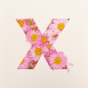 Projekt czcionki, abstrakcyjna czcionka alfabetu z różowym kwiatkiem, realistyczna typografia kwiatowa - x
