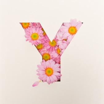 Projekt czcionki, abstrakcyjna czcionka alfabetu z różowym kwiatkiem, realistyczna typografia kwiatowa - y