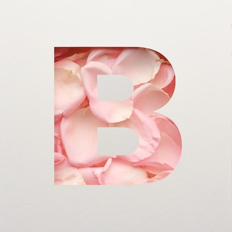Projekt czcionki, abstrakcyjna czcionka alfabetu z różowymi płatkami róż, realistyczna typografia kwiatów - b.