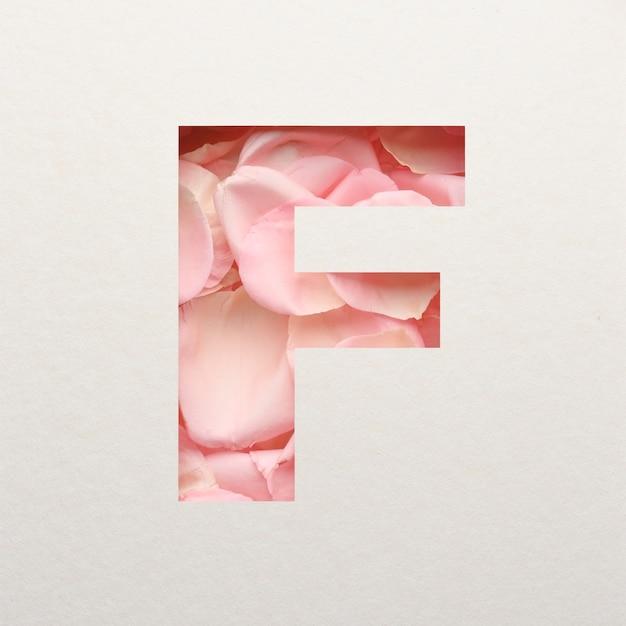 Projekt czcionki, abstrakcyjna czcionka alfabetu z różowymi płatkami róż, realistyczna typografia kwiatów - f.