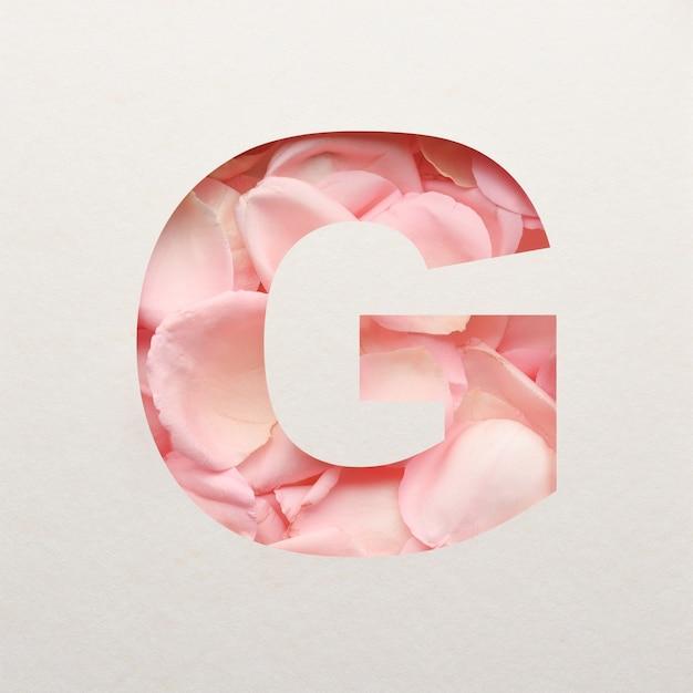 Projekt czcionki, abstrakcyjna czcionka alfabetu z różowymi płatkami róż, realistyczna typografia kwiatów - g.