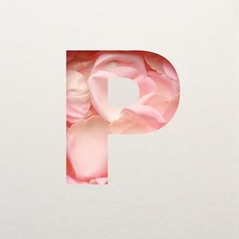 Projekt czcionki, abstrakcyjna czcionka alfabetu z różowymi płatkami róż, realistyczna typografia kwiatów - p