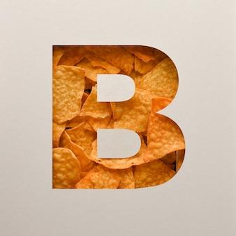 Projekt czcionki, abstrakcyjna czcionka alfabetu z trójkątnymi chipsami kukurydzianymi, realistyczna typografia liści - b