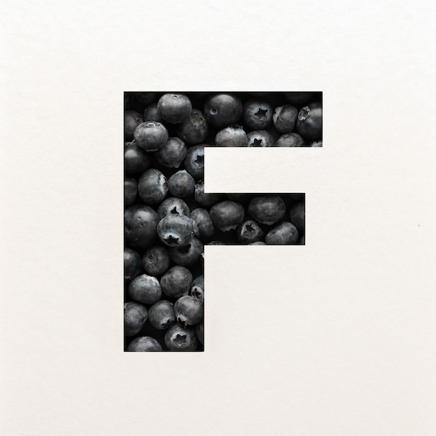 Projekt czcionki, czcionka abstrakcyjna alfabetu z jagodami, realistyczna typografia owoców - f.