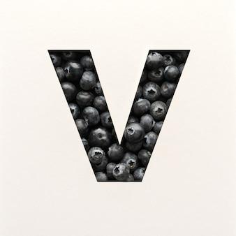 Projekt czcionki, czcionka abstrakcyjna alfabetu z jagodami, realistyczna typografia owoców - v