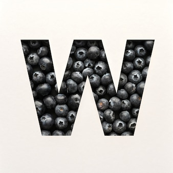 Projekt czcionki, czcionka abstrakcyjna alfabetu z jagodami, realistyczna typografia owoców - w.