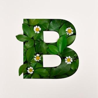 Projekt czcionki, czcionka abstrakcyjna alfabetu z liśćmi i kwiatem, realistyczna typografia liści - b