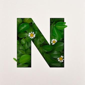 Projekt czcionki, czcionka abstrakcyjna alfabetu z liśćmi i kwiatem, realistyczna typografia liści - n.