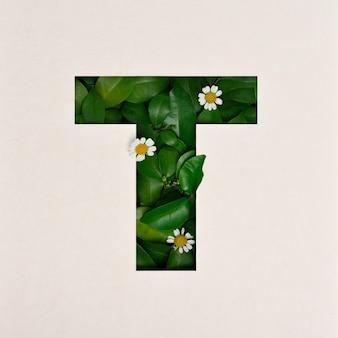 Projekt czcionki, czcionka abstrakcyjna alfabetu z liśćmi i kwiatem, realistyczna typografia liści - t