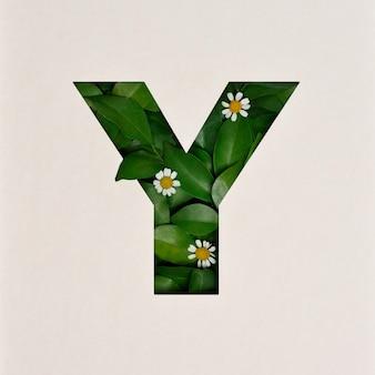 Projekt czcionki, czcionka abstrakcyjna alfabetu z liśćmi i kwiatem, realistyczna typografia liści - y