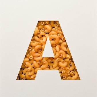 Projekt czcionki, czcionka abstrakcyjna alfabetu z makaronem łokciowym, realistyczna typografia żywności - a