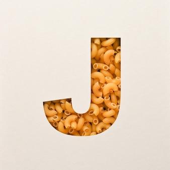 Projekt czcionki, czcionka abstrakcyjna alfabetu z makaronem łokciowym, realistyczna typografia żywności - j.