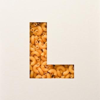 Projekt czcionki, czcionka abstrakcyjna alfabetu z makaronem łokciowym, realistyczna typografia żywności - l.