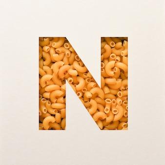 Projekt czcionki, czcionka abstrakcyjna alfabetu z makaronem łokciowym, realistyczna typografia żywności - n