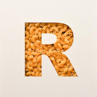 Projekt czcionki, czcionka abstrakcyjna alfabetu z makaronem łokciowym, realistyczna typografia żywności - r.