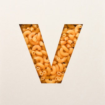 Projekt czcionki, czcionka abstrakcyjna alfabetu z makaronem łokciowym, realistyczna typografia żywności - v