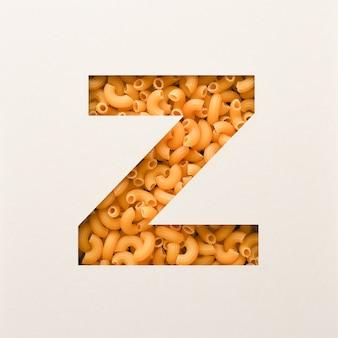 Projekt czcionki, czcionka abstrakcyjna alfabetu z makaronem łokciowym, realistyczna typografia żywności - z