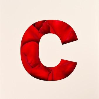 Projekt czcionki, czcionka abstrakcyjna alfabetu z płatkami róż, realistyczna typografia kwiatów - c.
