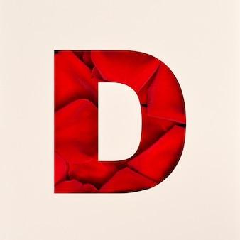 Projekt czcionki, czcionka abstrakcyjna alfabetu z płatkami róż, realistyczna typografia kwiatów - d