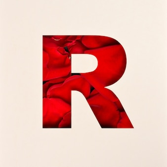 Projekt czcionki, czcionka abstrakcyjna alfabetu z płatkami róż, realistyczna typografia kwiatów - r.