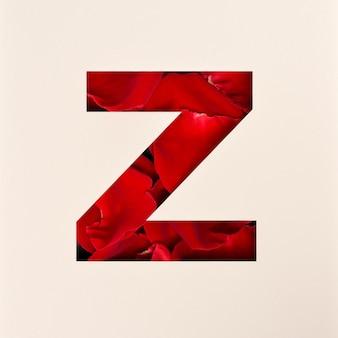 Projekt czcionki, czcionka abstrakcyjna alfabetu z płatkami róż, realistyczna typografia kwiatów - z