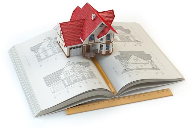 Projekt domu. książka z szkicami domu i modelem 3d domu. koncepcja budowlana, architektoniczna i projektowa. ilustracja 3d