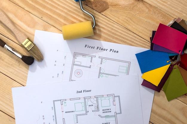 Projekt domu z wzorami kolorów i narzędziami