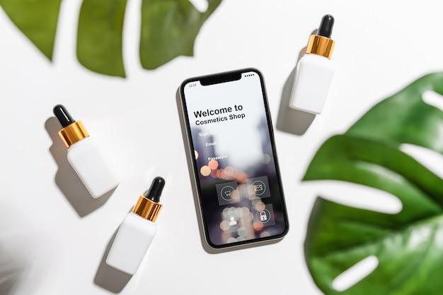Projekt ekranu smartfona, zastosowanie kosmetyków online.