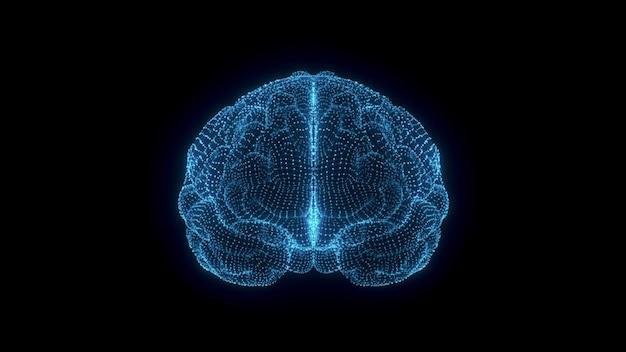 Projekt graficzny animacji 3d mózgu i pnia mózgu. animacja 3d ludzkiego mózgu. badania medyczne aktywności mózgu. głębokie uczenie, sztuczna inteligencja i nowoczesna technologia renderowania 3d.